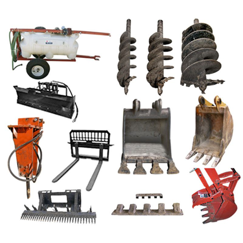 Full range of attachments for excavators