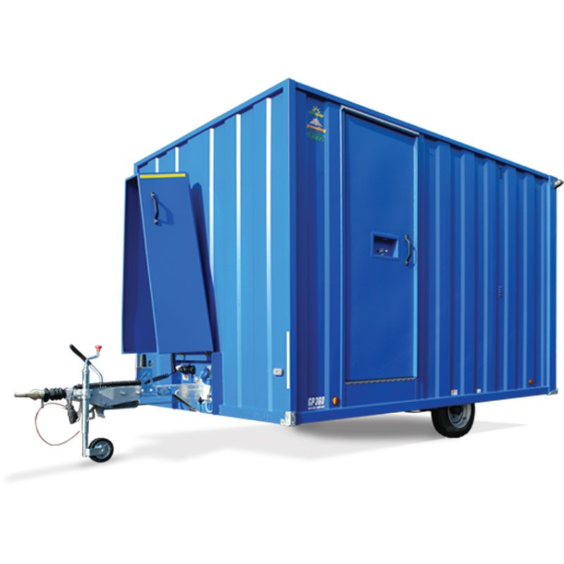 Blue towable welfare unit