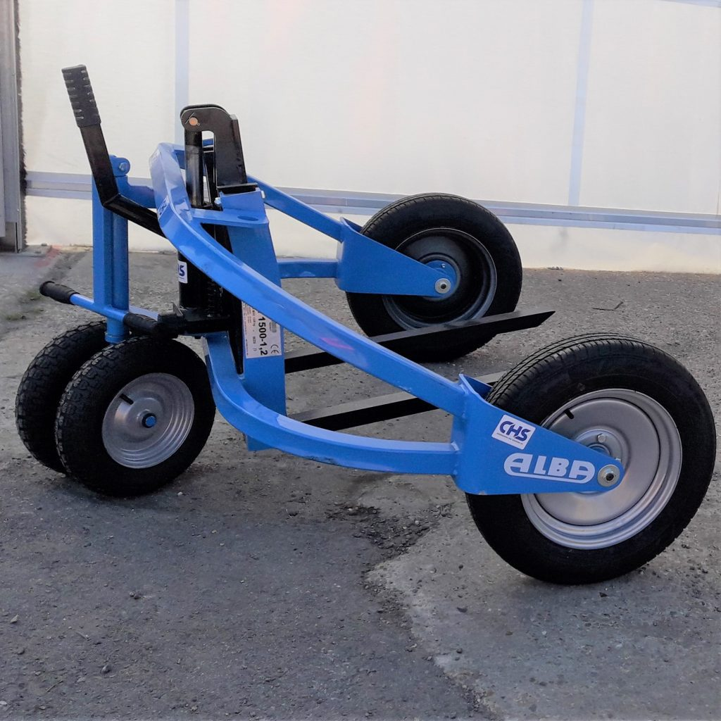 Blue Pallet Truck with black wheels